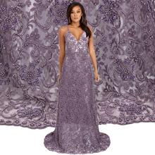 Bestway High Quality Purple Color Beaded Embroidery Bridal Lace French Big Heavy Lace Fabric FL0320