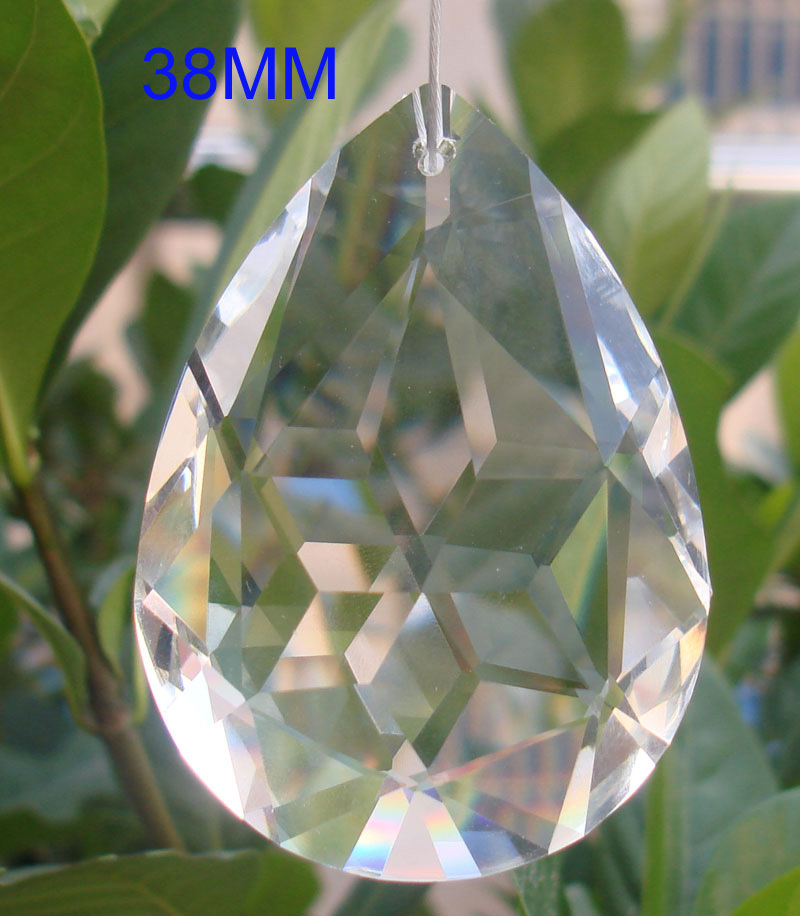 38mm Transparent crystal lighting decoration prism pendant suncatcher ornament