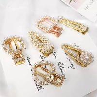Big Rose gold Headwear vintage geometry crystal rhinestone women pearl Hair Barrettes