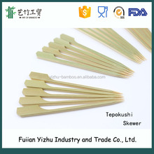 Hot sell green skin Bamboo Flat/Teppo Skewers with handle