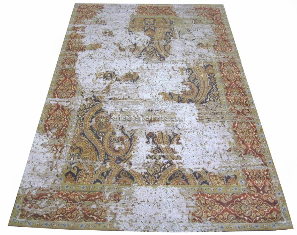 Digital printed carpet, chenille flat weave carpet