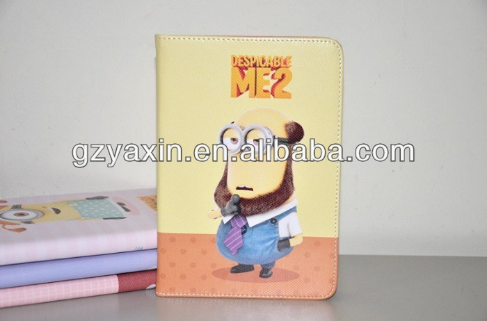 despicable me leather case for ipad mini,folio cover leather case for ipad 2 3 4