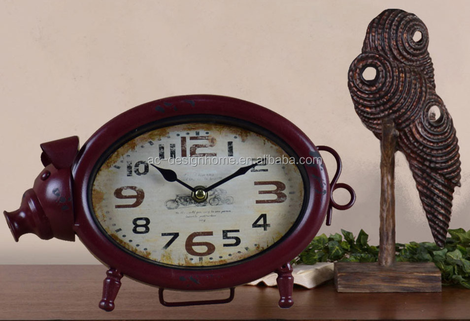 ANTIQUE RED METAL PIG SHAPE TABLE TOP CLOCK