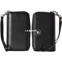 Luxury Leather Zipper Handbag Wallet Card Slot Flip Mobile Phone Case Cover for iPhone 4 4s