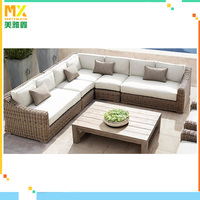 All-Weather Cushioned Outdoor Patio PE Rattan Wicker Sofa Sectional Furniture Set Clearance Lawn Backyard Furniture