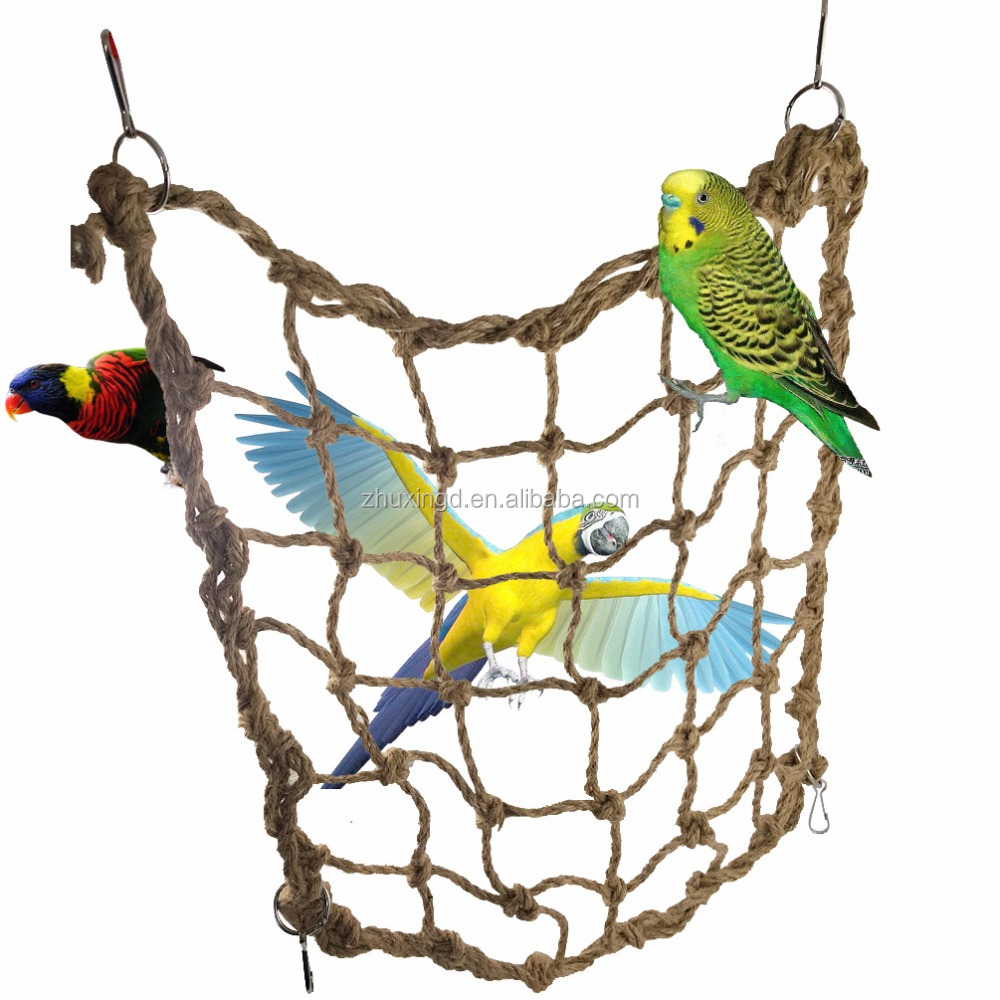 Bird Toys Climbing Net Nature Handmade, Toy Perch Swing for Parrot, Bird Creations Seagrass Foraging Wall Toy for Birdsg