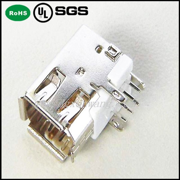 IEEE 1394 connector side right angle shield socket