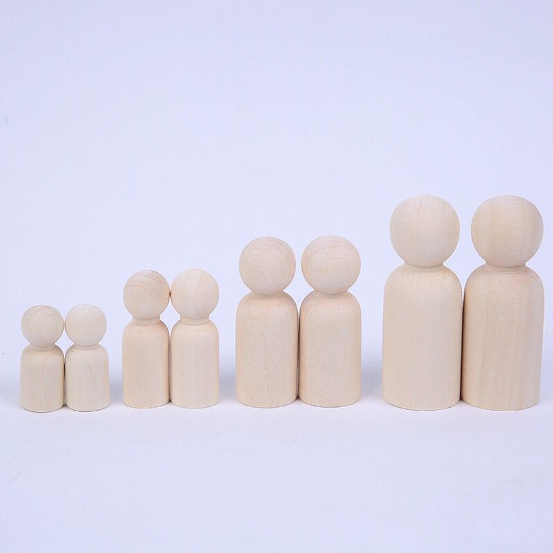 Wooden Family Handwork Material Unpainted DIY Natural Wooden Peg People <strong>Doll</strong>