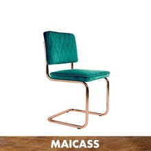 Rose gold stainless steel velvet dining chair