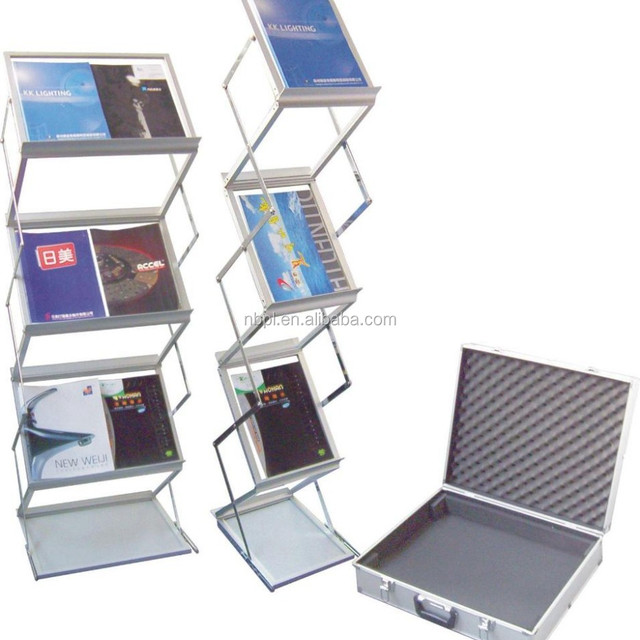 Brochure rack, metal catalogue and literature holder, acrylic aluminum zig zag display