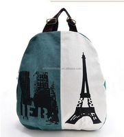 Latest Design European Style Eiffel Tower Canvas Leisure Traveling OEM Backpack Bag Knapsack Shoulders Bag For Teenagers