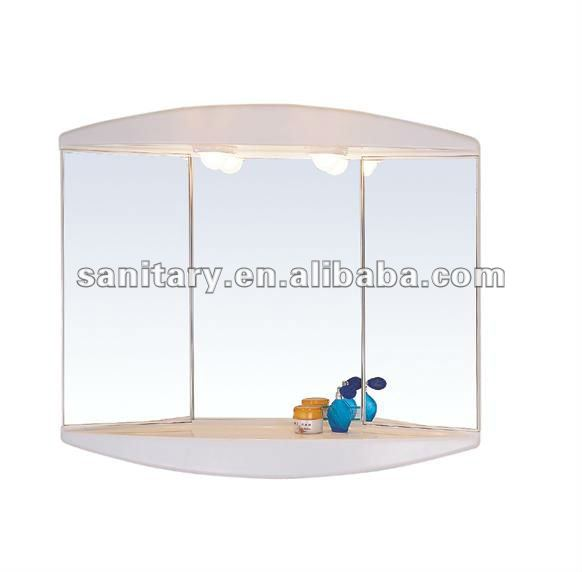 2012 Environmental Friendly anti-fog Plastic bath mirror with light and shelf