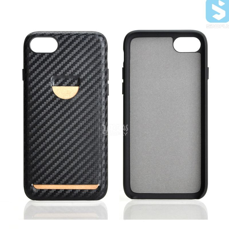 New products Carbon Fiber PC PU mobile phone back cover case for APPLE iPhone 7 With Card Slot
