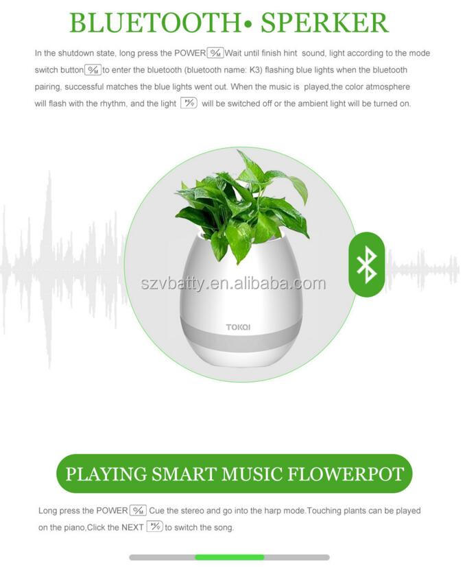 Newest Gift Idea Smart Music Flower Pots with Bluetooth Speaker and LED