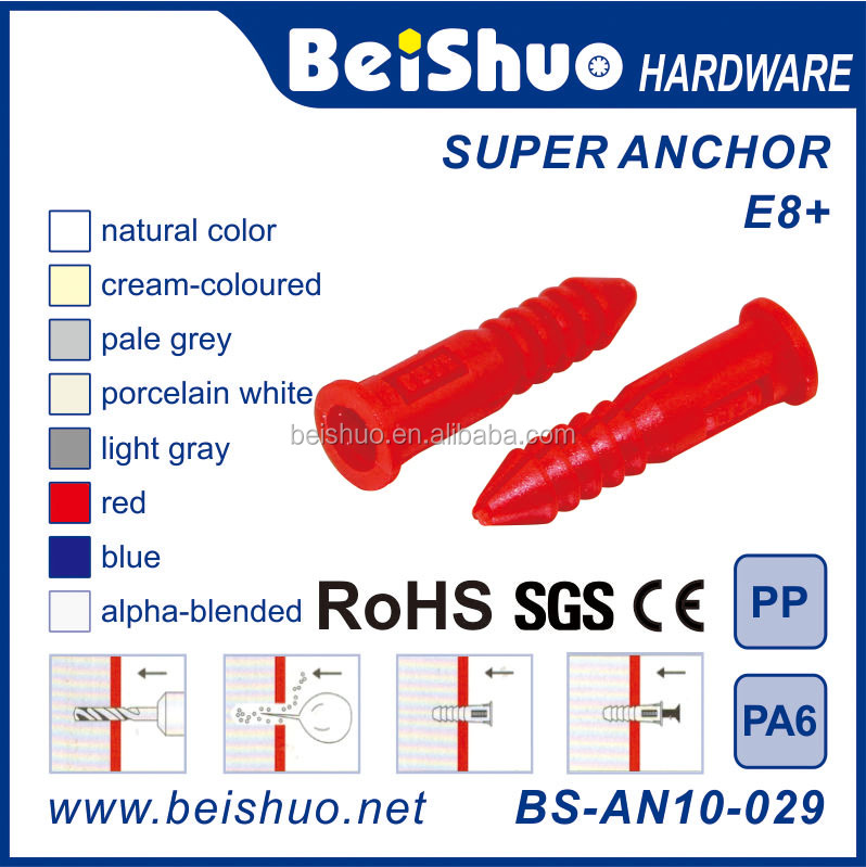 M6 Self-drilling Dry Wall Ribbed Universal Plastic Super Anchor