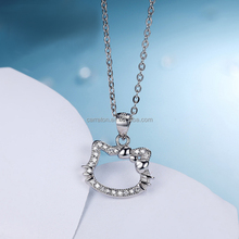 Fashionable 925 Silver Micro Pave Setting Zircon Hello Kitty Necklace for Kids