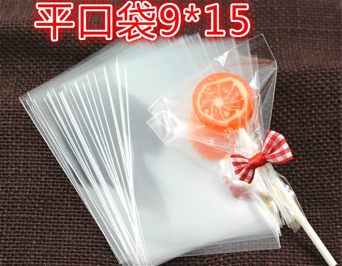 2000pcs/lot 9x15cm Transparent Flat Open Top Lollipop Baking Cookie Small Gift Cake Packaging Pouch Cellophane Pop Package Bags