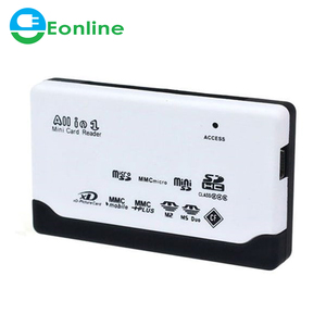 All in One Card Reader TF MS M2 XD CF TF SD Carder Reader USB 2.0 480Mbps Card Reader Mini Memory Cardreader with Date Line
