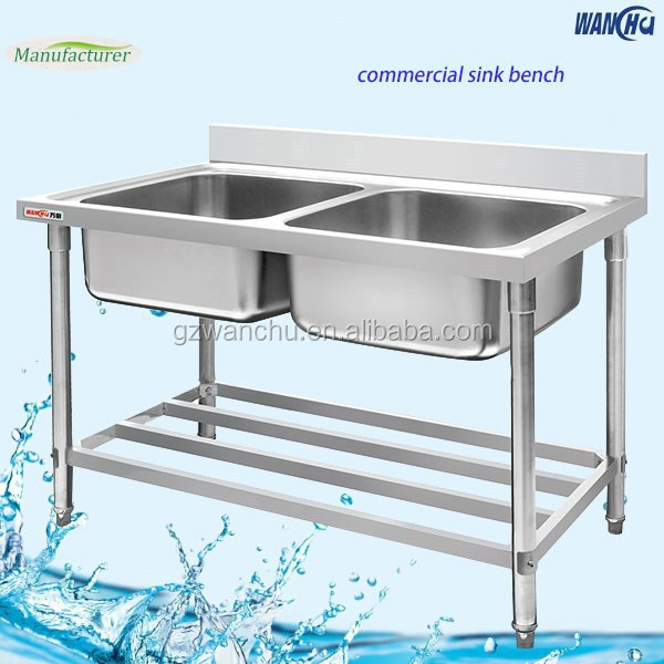 Double Bow Industrial Kitchen Stainless Steel Sink