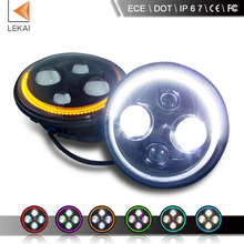 hot selling D0T and ECE 7inch 40w jeep wrangler led headlamp, rgb drl