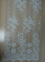 Charming white bridal lace with beads sequins and spangle