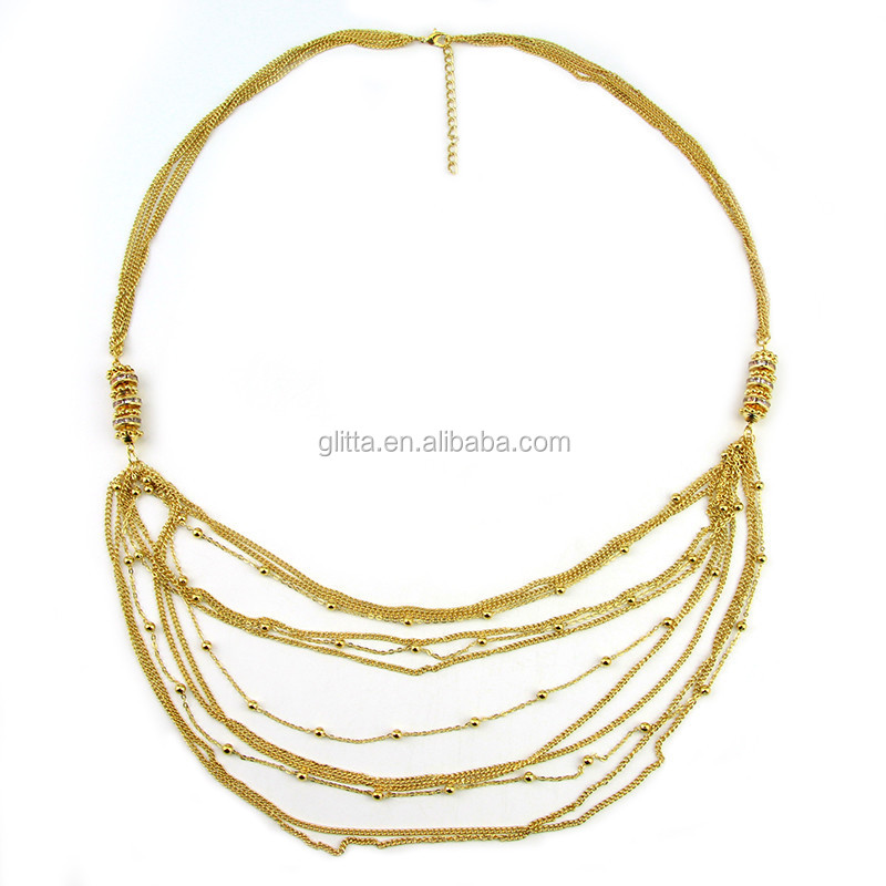 2015 Hot Fashion Layer 24k Gold Necklace Chain For Girl Wholesale 13943
