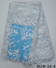 Guangzhou african bridal white embroidery sequin french lace fabric wholesale