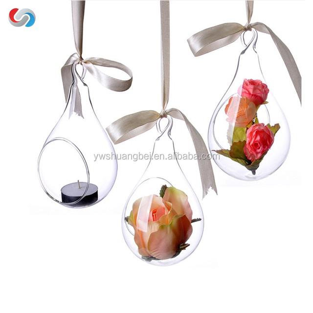 beautiful unique hanging crystal glass flower vases, air plant glass terrarium for wedding decor