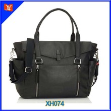 Leather Tote Mummy Bag Black Color With Changing Mat, Insulated Bottle Holder