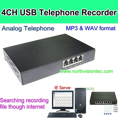 4CH USB Telephone Recorder, support FST DTMF. WAV and transfer MP3, PC based Telephone Logger