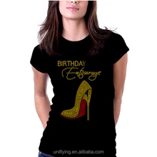 O-neck Rhinestone Birthday High Heel Shirts,Women's T-shirts with Custom Rhinestone Design