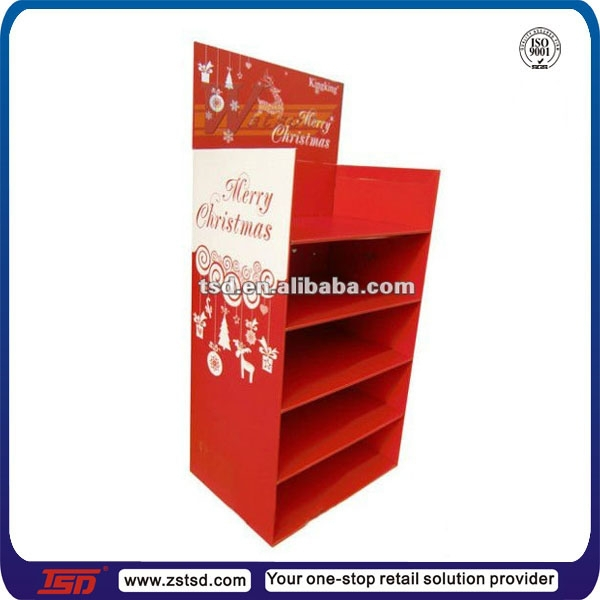 TSD-C253 Custom promotion cardboard floor display for christmas gift/festival pop display/christmas ornament display stand