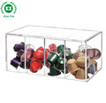 four compartments large clear acrylic food box with hinged lid