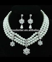 Bridal White Faux Pearl Necklace Earrings Set CS1203