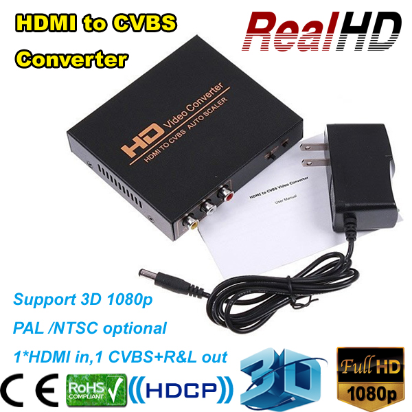 Wholesale china HD video converter HDMI to CVBS adapter cable cables Components RCA AV ,CVBS +R&L+audio out best buy