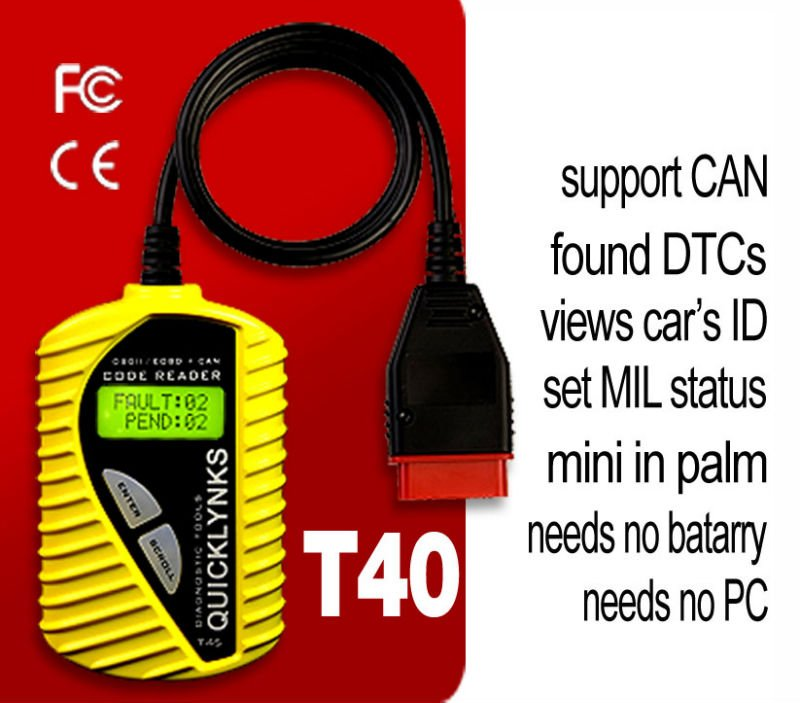 HOT! vehicle Diagnostic tool for multi cars / OBD2/EOBD engine trouble scan gauge T40 in yellow -Mini-carriage Multilingual