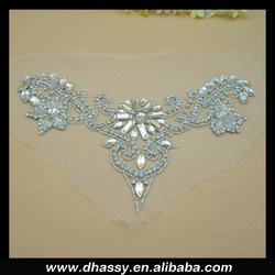 Wholesale supplier bling crystal bridal beaded diamond rhinestone appliques DH-788