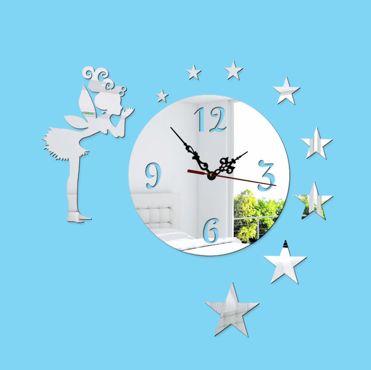 Modern design removable mirror sticker clock watches kids room wall decor clock on the wall