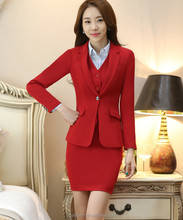 Juqian High quality Red colors Two piece ladies women formal office skirt suit