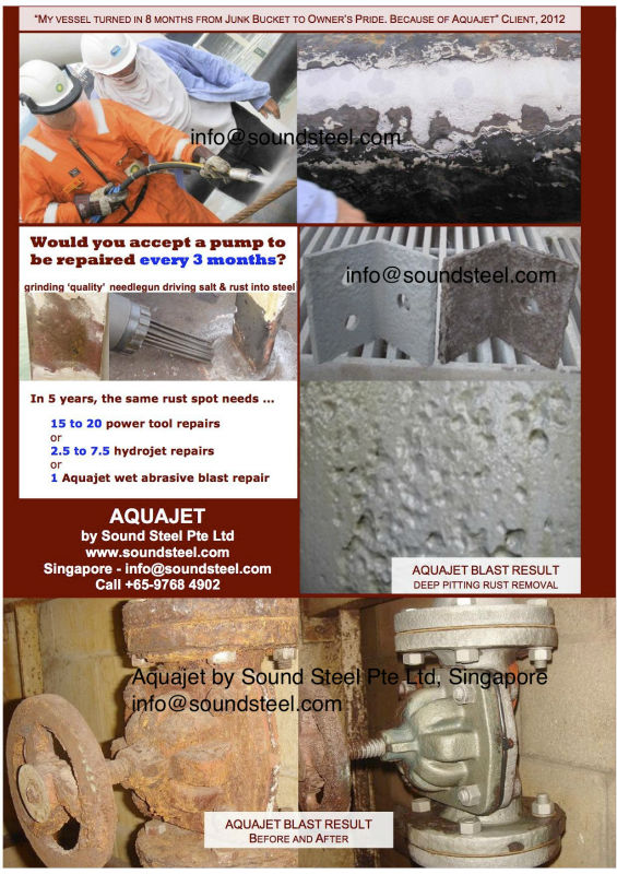 Aquajet sand blaster - onboard & onshore rust cleaning - wet abrasive blasting