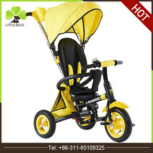 China factory folding baby stroller pedal tricycle cheap pram three wheels kids tricycle with wagon