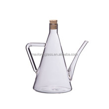 Glass Olive Oil decanter with handle and lid.