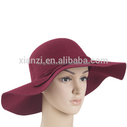 Women's Sun Hats Soft Vintage Wide Brim Wool Felt Bowler Fedora Hat Floppy Summer Style Lady Beach hat