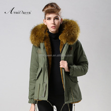 2015 Fashionable MR.warm short yellow green fur coat, MRS.removable real collar ,faux fur lining factory price
