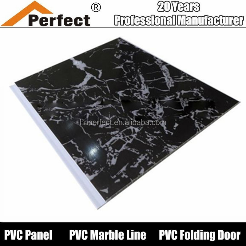 Hot stamping black marble design pvc ceiling wall panel for decoration