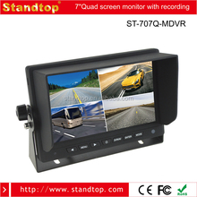4 Vide input 7 inch LCD Monitor with 64G SD Card Recording