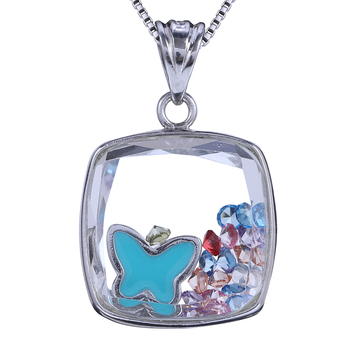 Wholesales Customized Butterfly Shape Diamond locket necklace