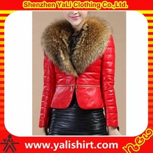 2014 new arrival high quality bulk plain cheap fur collar women winter import leather jackets