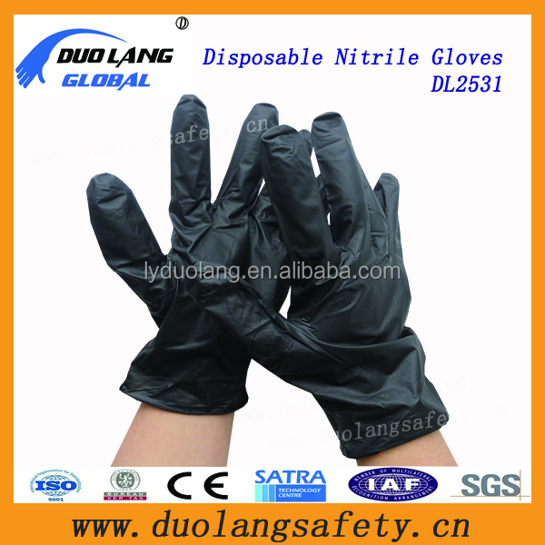 Powder-Free black nitrile medicine gloves