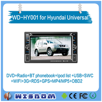 WISDOM Android 4.4.4 car dvd player for Hyundai Click 2002-2012 universal audio radio gps navigation multimedia system